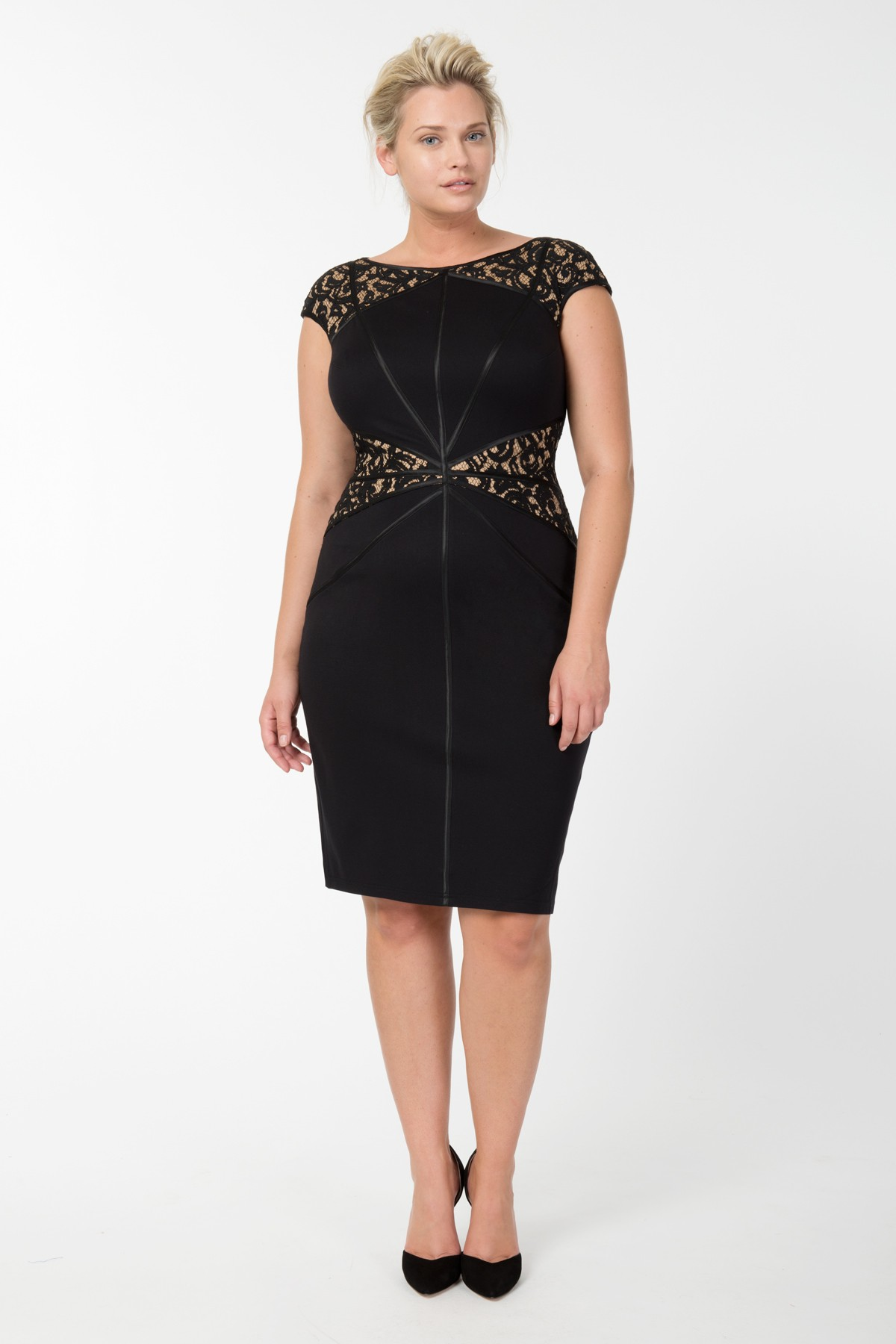 Lace and Jersey Sheath Dress in Black / Nude ($368.00, TadashiShoji.com)