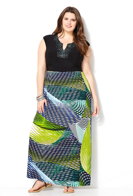 SHOP NOW: Striped Bottom Maxi Dress, Avenue