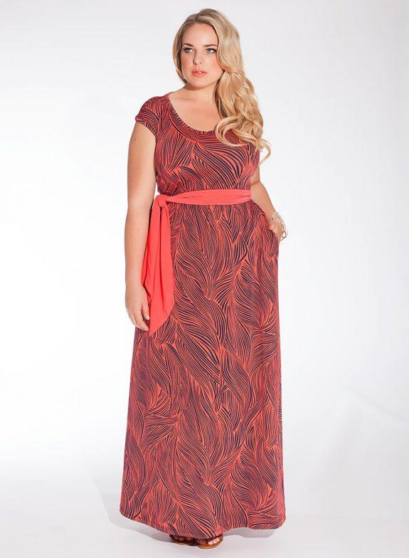 SHOP NOW:  Tiana Plus Size Maxi Dress in Coral Wave, Igigi