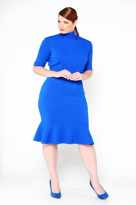 JIBRI Plus Size Mock Neck Pencil Dress